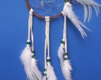 Native American inspired Dream Catcher - 3378, Chicken Feathers, Glass Beads, Grapevine