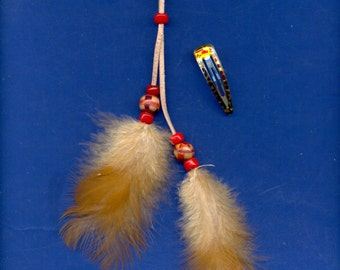 Feather Hair Clip, Barrette, FC-240, Wood and Glass Beads