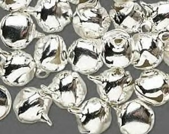 100 Pack of Silver colored Bells, 10mm