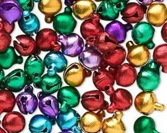 100 Pack of Jewel colored Bells, 6mm, Assorted