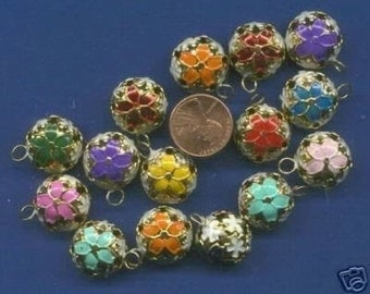15  Cloisonne Bells,  Assorted Colors, 17mm, Beautiful