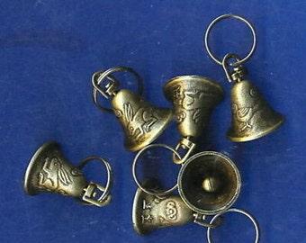 6 Brass Bells: Rabbit-Bird Design, 25mm