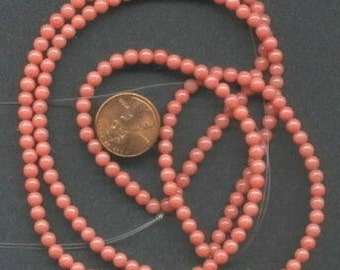 """Two 16"""" Strands 4mm Mt. Jade Beads: Coral"""