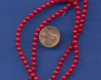 "16"" Strand 4mm Fossil Beads:  Red"