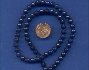 "16"" Strand 6mm Fossil Beads:  Navy"