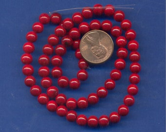 "16"" Strand 6mm Fossil Beads:  Red"