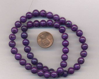 "16"" Strand 8mm Fossil Beads:  Purple"