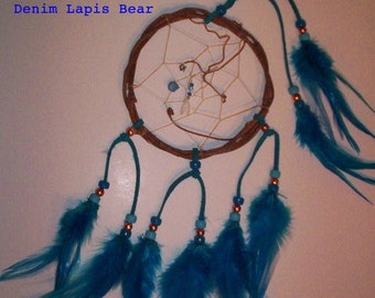 Native American inspired Dream Catcher-4-122, Chicken Feathers,  Glass/Metal Beads, Grapevine