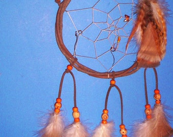 Native American inspired Dream Catcher  8-104, Turkey/Chicken Feathers, Glass/Wood Beads, Grapevine
