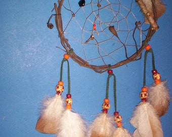 Native American inspired Dream Catcher-6-101, Chicken/Turkey Feathers,  Glass/Wood Beads, Grapevine, Bear