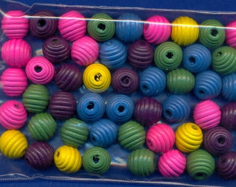 50 Wood 15mm Barrel Beads in assorted colors, Beautiful, Large Hole