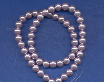 16 Inch strand of Glass Pearl Beads, Lilac, 8mm