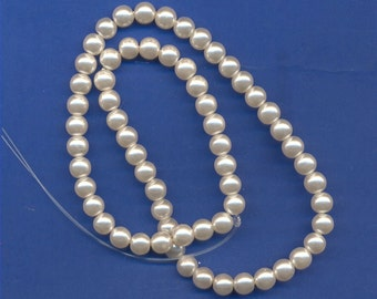 16 Inch strand of Glass Pearl Beads, White, 6mm