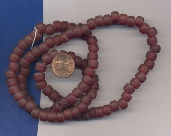 24 Inch strand of Glass Crow Beads, Reddish Brown, Large Hole