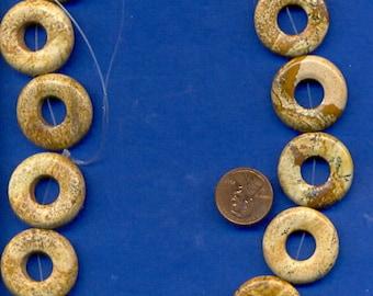 "16"" Strand of 25mm Donut Beads:  Picture Jasper"