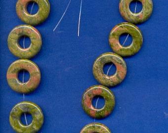 """16"""" Strand of 25mm Donut Beads:  Unakite"""