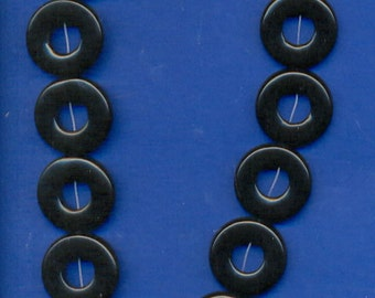 "16"" Strand of 25mm Donut Beads: Blackstone"