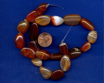 """15"""" Strand of Red Agate Pebble Beads-Lot 2, 10mm to 17mm"""