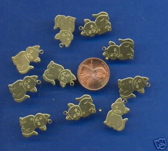 10 Brass Cat Charms, Number 3039: Beads, Scrapbook, Earrings