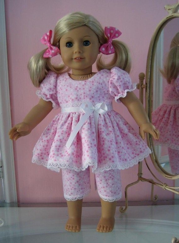 18 inch American Girl doll clothes/ handmade  /  Pink Stars Pajamas /white bow