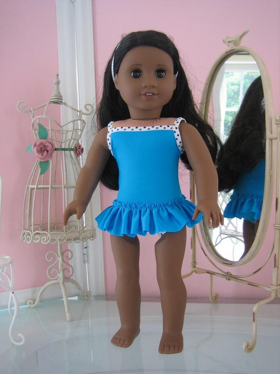 Skirted Swimsuit made to fit 18 inch American Girl doll aqua/teal with black and white dotty  trim