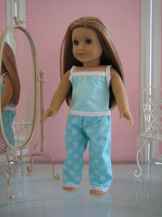 Summer P.J.s  made to fit 18 inch American Girl doll, aqua