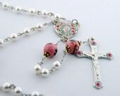 Pearl & Pink Roses Rosary