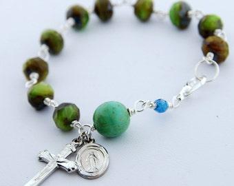 Faceted Czech Glass Green Rosary Bracelet
