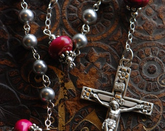 Grey Pearl & Pink Sterling Silver Rosary