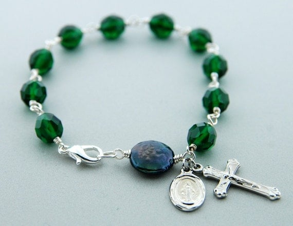 Czech Glass and Coin Pearl Rosary Bracelet- Emerald