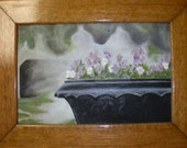 Original Oil painting florals Violets in a Black Urn