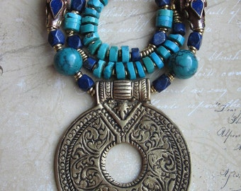 Nepalese Beauty -- Lapis- Turquoise- Handcrafted Nepalese beads