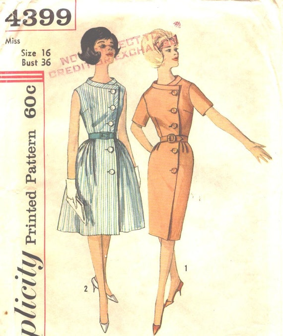 Simplicity 4399 Vintage Wrap Around Dress with 2 Skirts Sewing Pattern Size 16 Bust 36 Inches