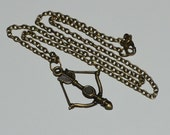 Antique Bronze Bow & Arrow Crossbow Hunger Games Inspired Necklace