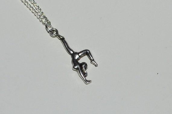 Silver Gymnist Gymnastics Dancer Tumble Necklace