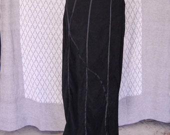 Ribboned Black Velvet Skirt