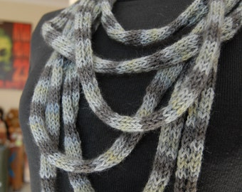 Handknitted Blue Grey Loop Scarf - Organic Wool SALE