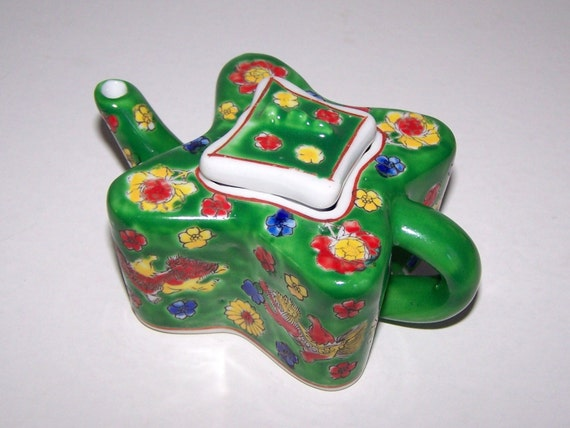 Butterfly Shape Tea Pot  HANDPAINTED FLOWERS and DRAGONS Porcelain Ceramic Candy Dish