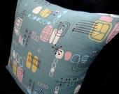 """Boomerang Beat Retro Throw Pillow Cover - Jade Atomic Tiki Barkcloth -- for 14"""" x 14"""" insert"""