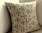 Eames Pillow Cover Mid Century Modern - Retro Small Dot pattern - Document  - Cream and Black