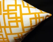 45% OFF - Modern Throw Pillow Cover Golden Orange on Ivory Gridlock Chris Stone Fabric - Many Sizes Available