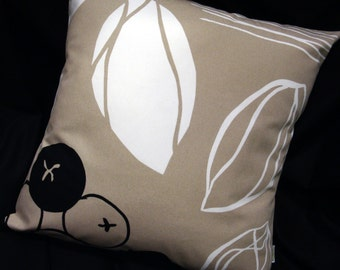 "Modern Contemporary Pillow Cover  -  Taupe, Black and White, Swedish Design - for 18"" x 18"" insert - Home Decorator Fabric"