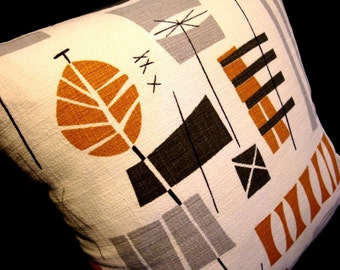 Barkcloth Tiki Retro Pillow Cover - Original MidCentury Design - Boho - Premium Reproduction Fabric - Many Sizes Available
