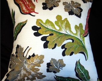 """50% OFF -- Vintage Barkcloth Pillow Cover - Autumn Leaves - for 18"""" x 18"""" insert"""