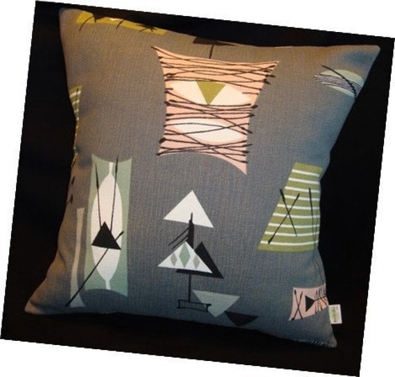 CUSTOM For BayleyBuckets ONLY - Retro Mambo Throw Pillow Cover - Grey Atomic Tiki - Chris Stone Barkcloth