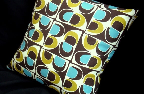 Color Blocks Retro Throw Pillow Cover - CHOCOLATE, LIME and AQUA - Boho - Organic Cotton - Many Sizes Available
