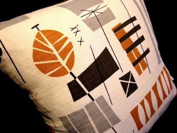 Barkcloth Tiki Retro Pillow Cover - Original MidCentury Design - Boho - Premium Reproduction Fabric - Many Sizes Available