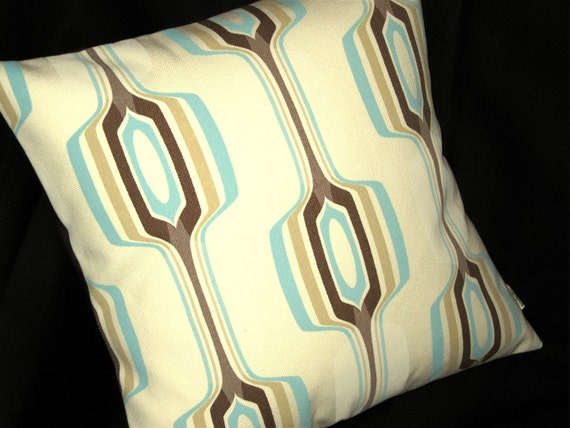 Retro Pillow Cover - Aqua on Cream Large Geometric -- Chris Stone Shelter Pattern  - Home Dec Fabric -- 1 left