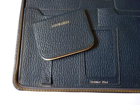 Vintage Dark Blue Leather Writing Case