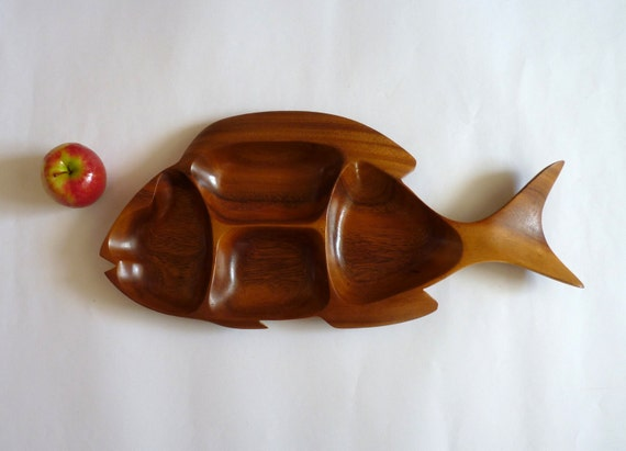 Large 1970s Four Section Carved Wooden Fish Shaped Dish